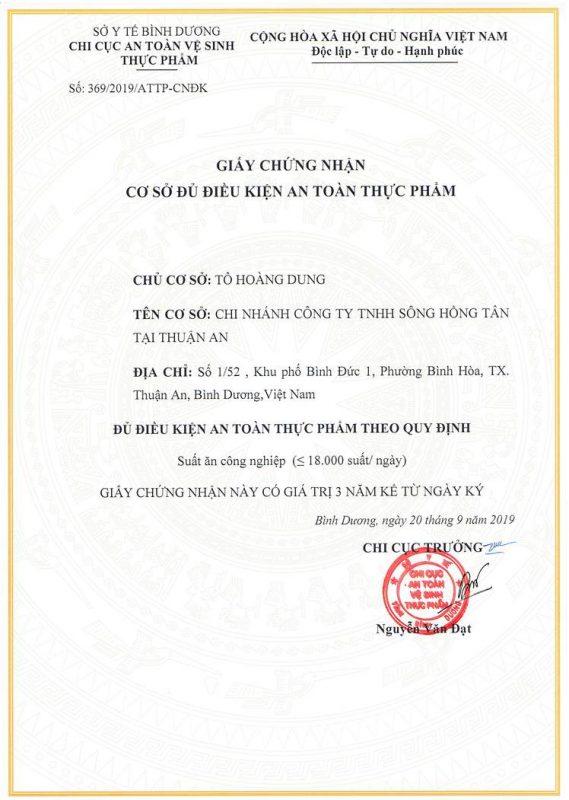 Chung nhan Certifice